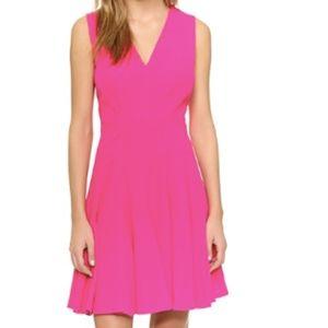 Rebecca Taylor V-Neck Fit and Flare Pink Dress